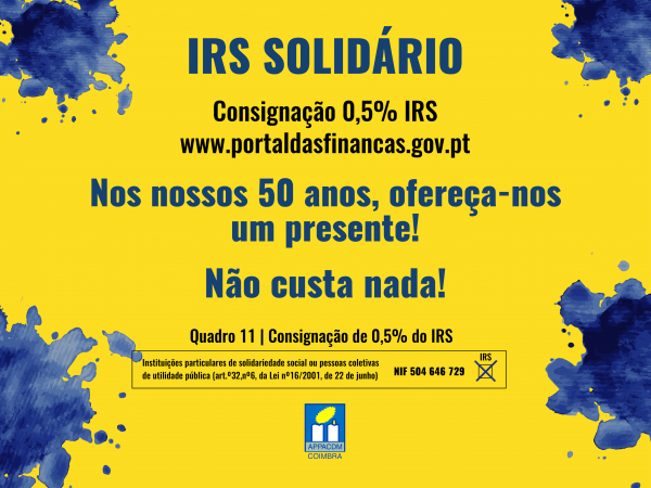 Consigne 0,5% do seu IRS à APPACDM Coimbra